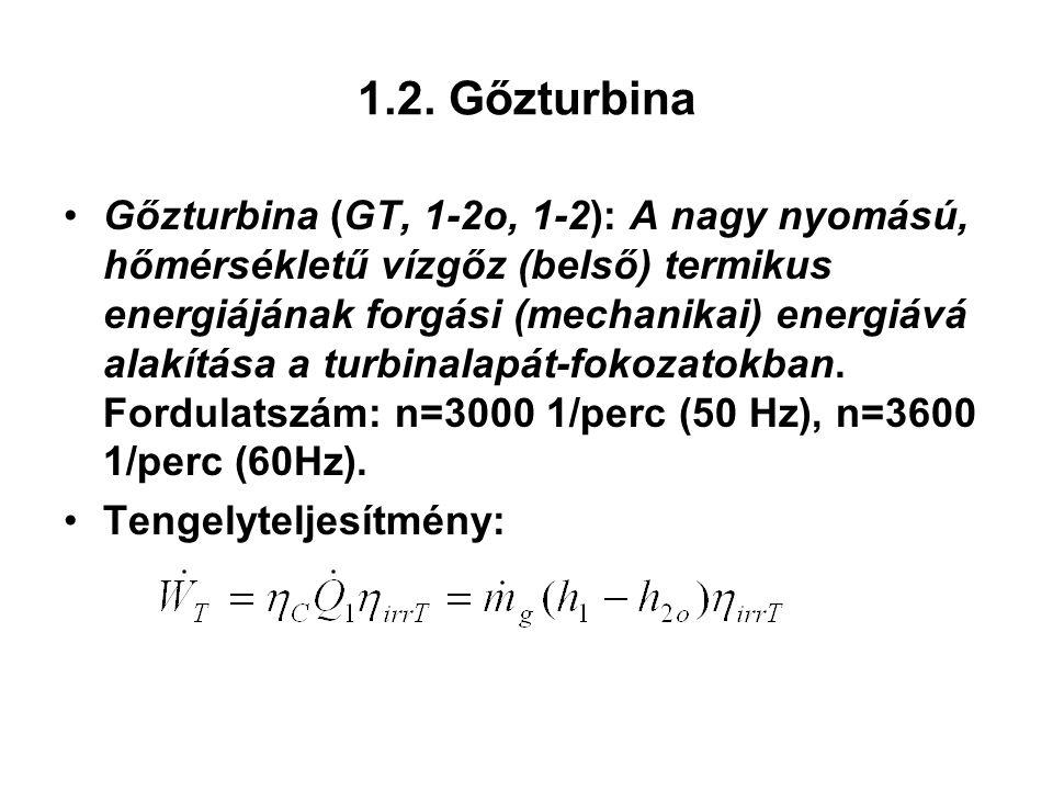 1.2. Gőzturbina Gőzturbina (GT, 1-2o, 1-2): A nagy nyomású, hőmérsékletű vízgőz (belső) termikus energiájának forgási (mechanikai) energiává alakítása