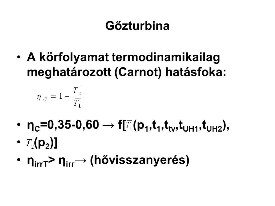 Gőzturbina A körfolyamat termodinamikailag meghatározott (Carnot) hatásfoka: η C =0,35-0,60 → f[ (p 1,t 1,t tv,t UH1,t UH2 ), (p 2 )] η irrT > η irr →