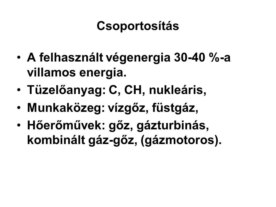Csoportosítás A felhasznált végenergia 30-40 %-a villamos energia. Tüzelőanyag: C, CH, nukleáris, Munkaközeg: vízgőz, füstgáz, Hőerőművek: gőz, gáztur