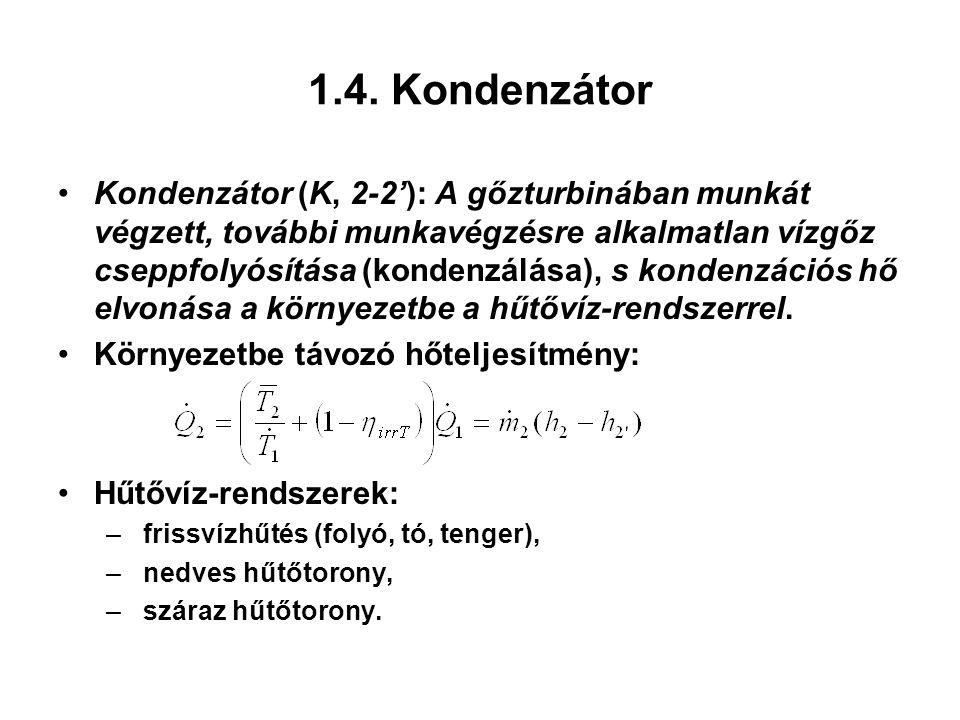 1.4. Kondenzátor Kondenzátor (K, 2-2'): A gőzturbinában munkát végzett, további munkavégzésre alkalmatlan vízgőz cseppfolyósítása (kondenzálása), s ko