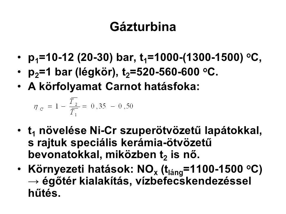 Gázturbina p 1 =10-12 (20-30) bar, t 1 =1000-(1300-1500) o C, p 2 =1 bar (légkör), t 2 =520-560-600 o C. A körfolyamat Carnot hatásfoka: t 1 növelése