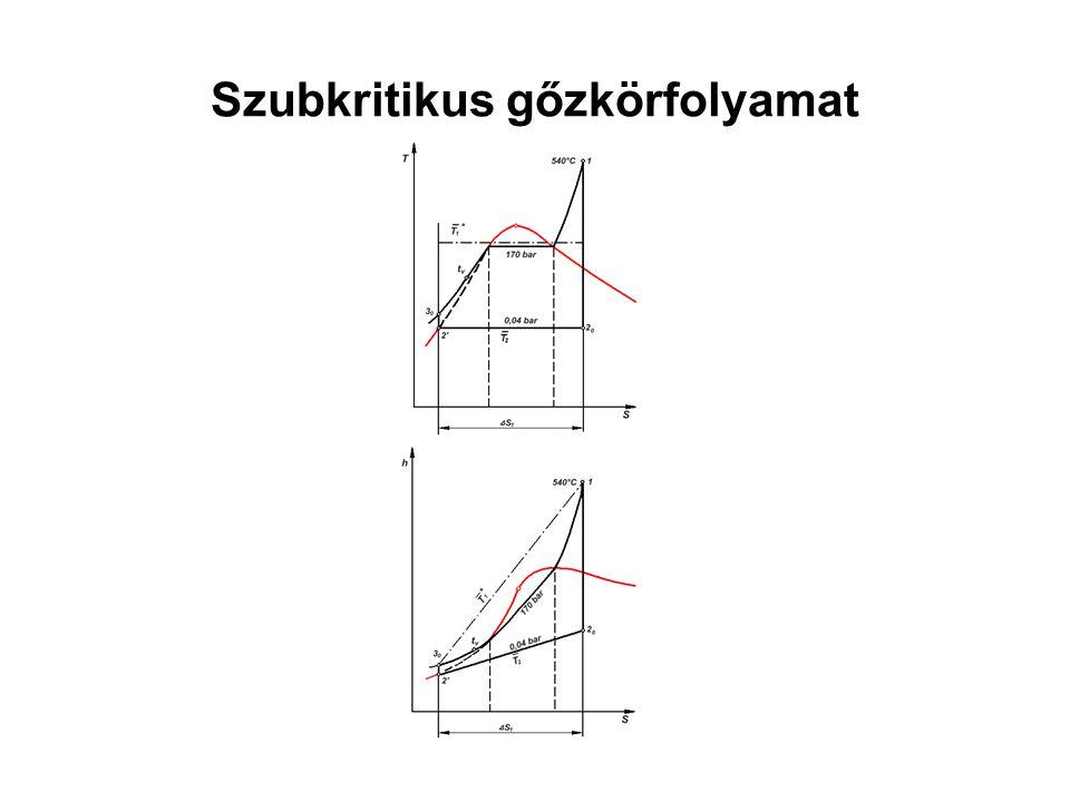 Gőzturbina A körfolyamat termodinamikailag meghatározott (Carnot) hatásfoka: η C =0,35-0,60 → f[ (p 1,t 1,t tv,t UH1,t UH2 ), (p 2 )] η irrT > η irr → (hővisszanyerés)