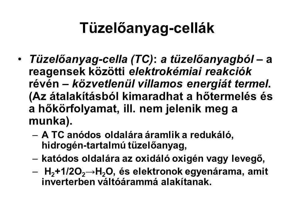 Tüzelőanyag-cella (TC): a tüzelőanyagból – a reagensek közötti elektrokémiai reakciók révén – közvetlenül villamos energiát termel. (Az átalakításból