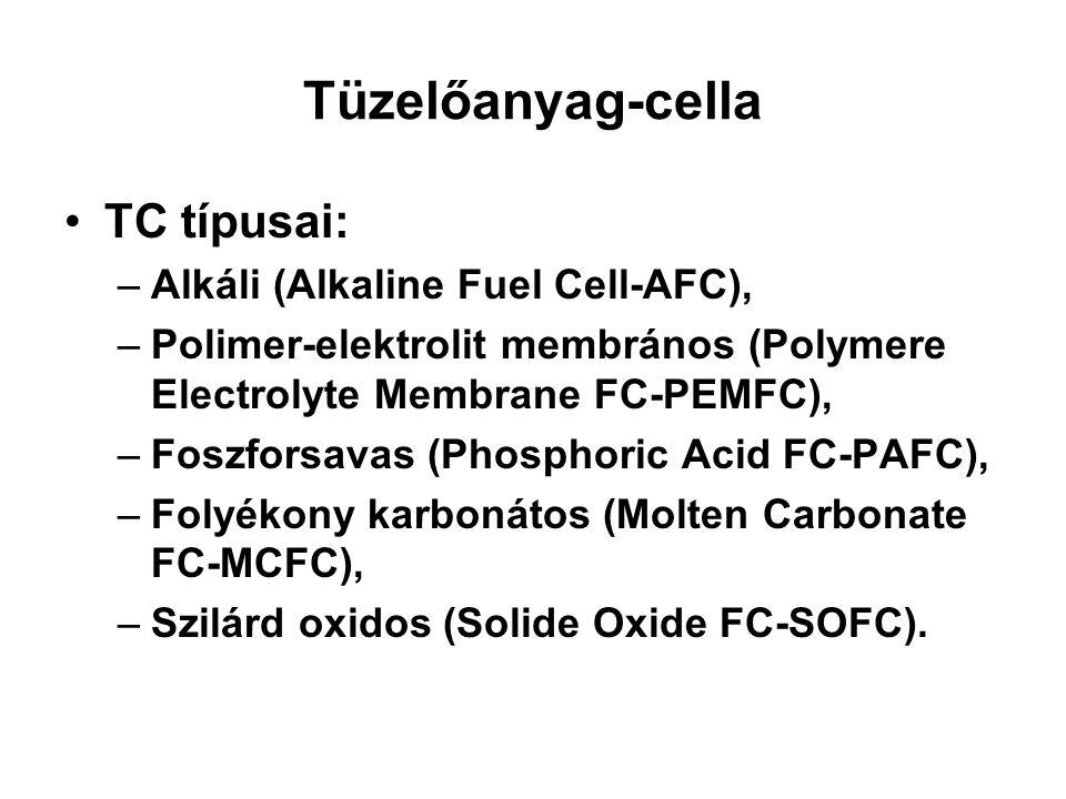 Tüzelőanyag-cella TC típusai: –Alkáli (Alkaline Fuel Cell-AFC), –Polimer-elektrolit membrános (Polymere Electrolyte Membrane FC-PEMFC), –Foszforsavas
