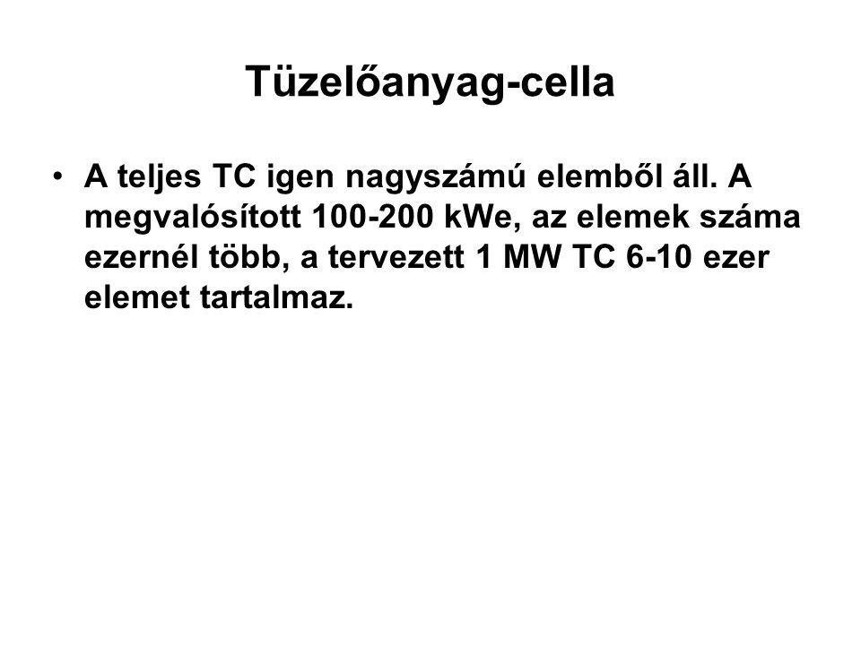 Tüzelőanyag-cella A teljes TC igen nagyszámú elemből áll. A megvalósított 100-200 kWe, az elemek száma ezernél több, a tervezett 1 MW TC 6-10 ezer ele