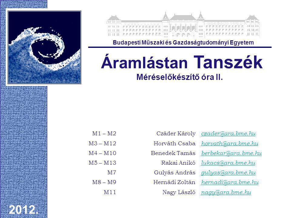 Áramlástan Tanszék Méréselőkészítő óra II.2012.