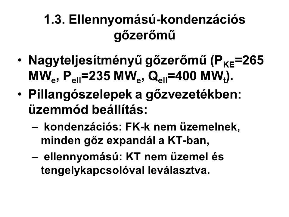 Nagyteljesítményű gőzerőmű (P KE =265 MW e, P ell =235 MW e, Q ell =400 MW t ).