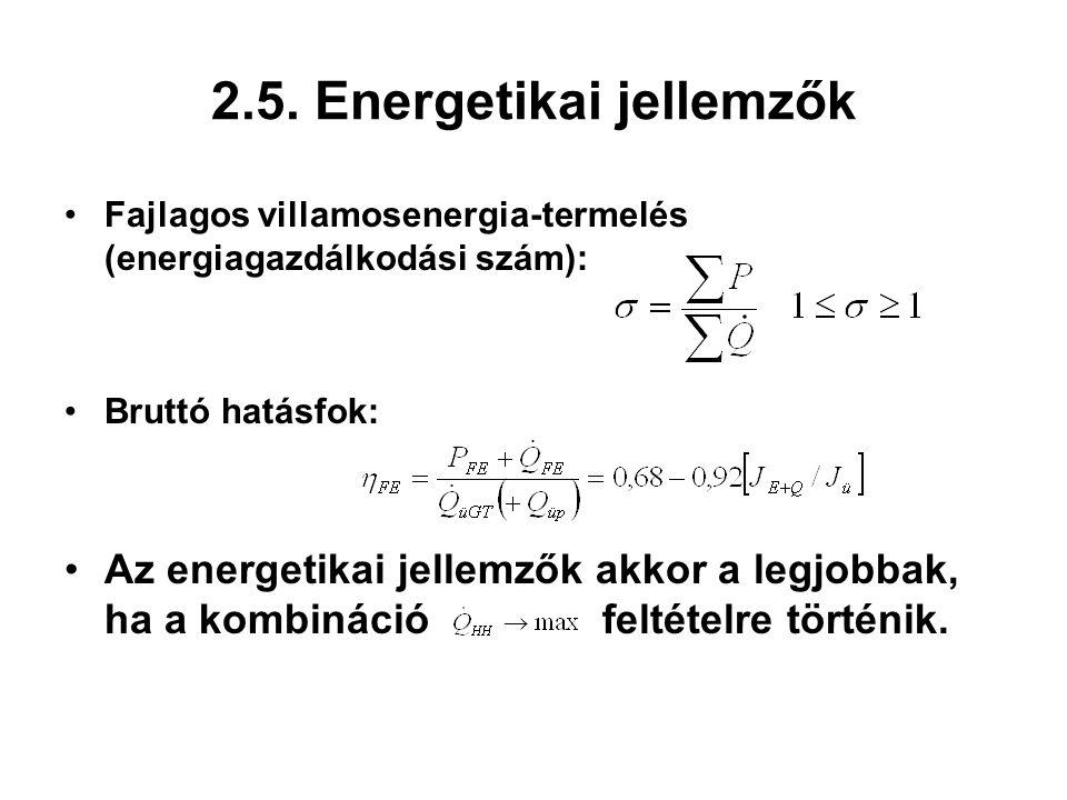 2.5. Energetikai jellemzők Fajlagos villamosenergia-termelés (energiagazdálkodási szám): Bruttó hatásfok: Az energetikai jellemzők akkor a legjobbak,