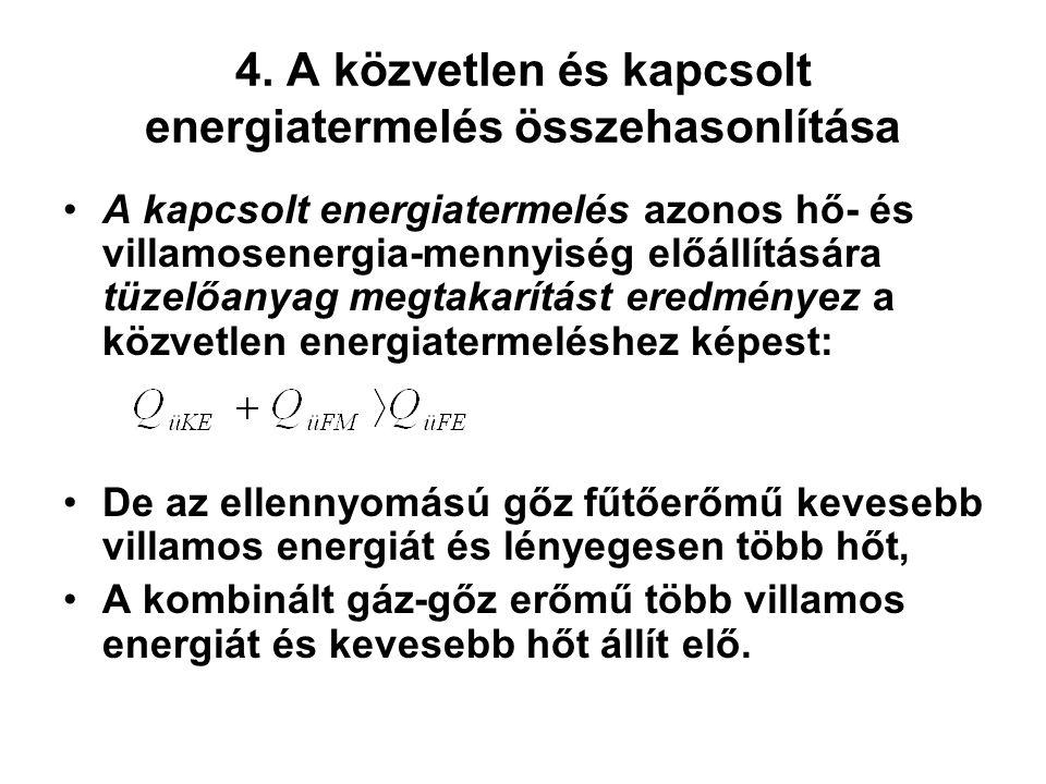4. A közvetlen és kapcsolt energiatermelés összehasonlítása A kapcsolt energiatermelés azonos hő- és villamosenergia-mennyiség előállítására tüzelőany