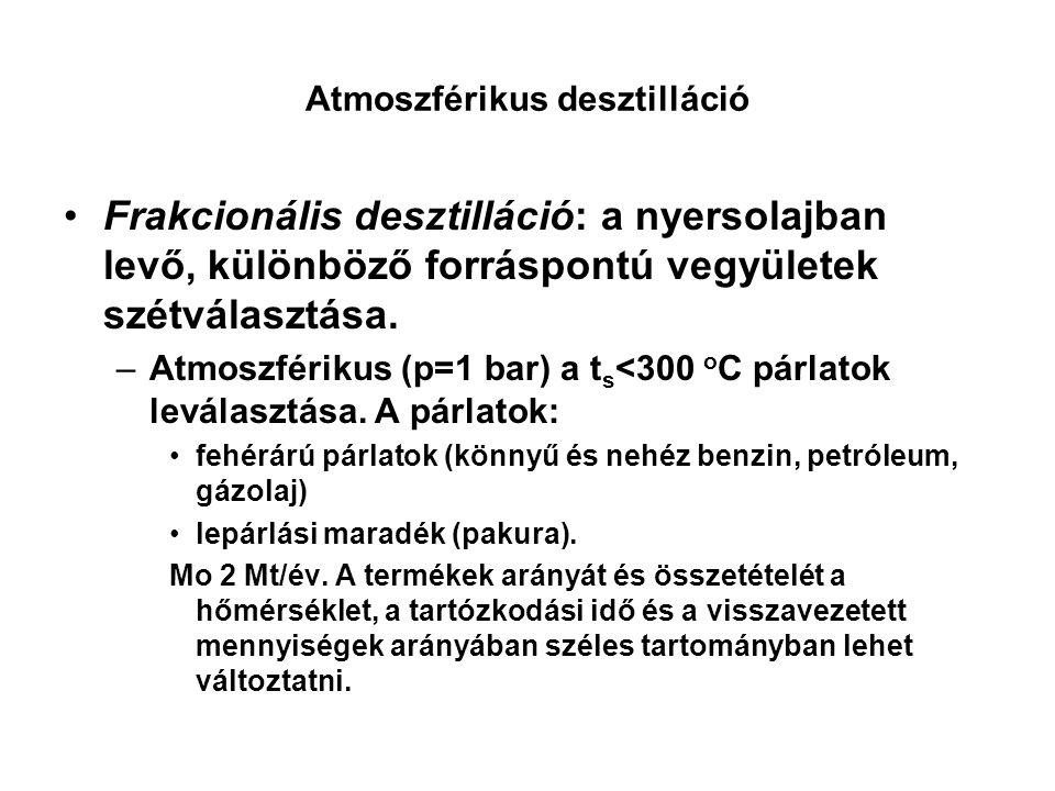 Atmoszférikus desztilláció Frakcionális desztilláció: a nyersolajban levő, különböző forráspontú vegyületek szétválasztása.