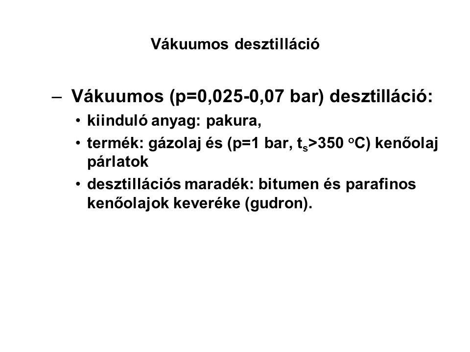 Vákuumos desztilláció – Vákuumos (p=0,025-0,07 bar) desztilláció: kiinduló anyag: pakura, termék: gázolaj és (p=1 bar, t s >350 o C) kenőolaj párlatok desztillációs maradék: bitumen és parafinos kenőolajok keveréke (gudron).