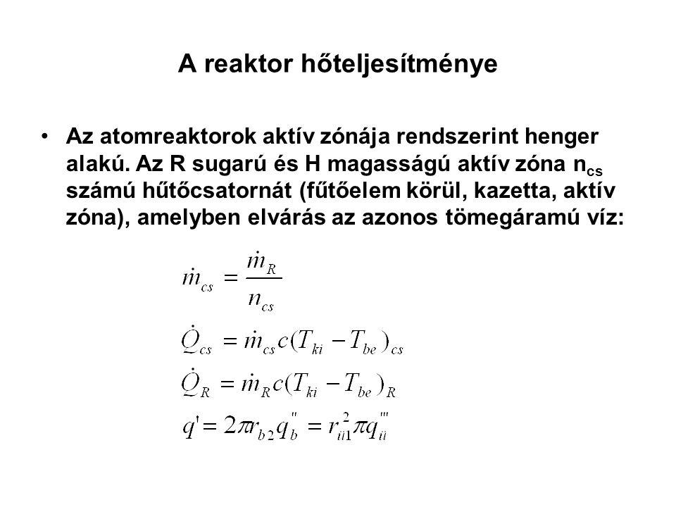 A reaktor hőteljesítménye Az atomreaktorok aktív zónája rendszerint henger alakú. Az R sugarú és H magasságú aktív zóna n cs számú hűtőcsatornát (fűtő