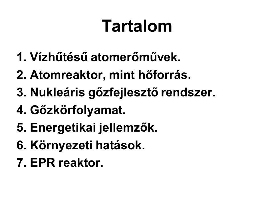 Tartalom 1. Vízhűtésű atomerőművek. 2. Atomreaktor, mint hőforrás. 3. Nukleáris gőzfejlesztő rendszer. 4. Gőzkörfolyamat. 5. Energetikai jellemzők. 6.