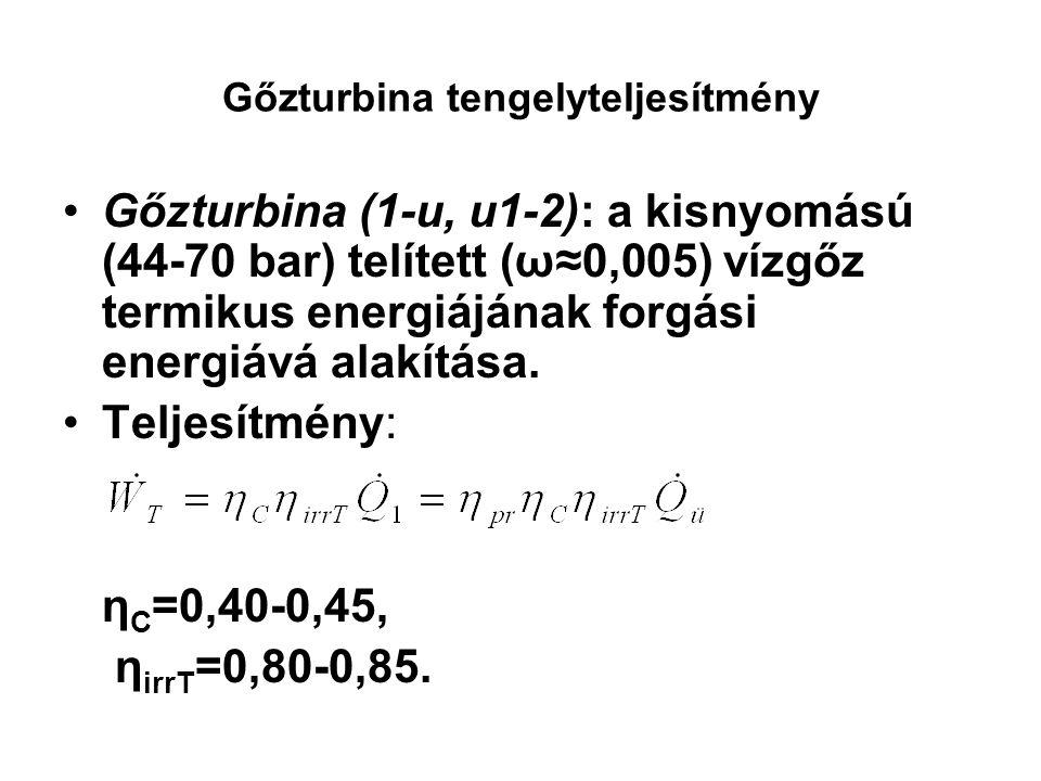 Gőzturbina tengelyteljesítmény Gőzturbina (1-u, u1-2): a kisnyomású (44-70 bar) telített (ω≈0,005) vízgőz termikus energiájának forgási energiává alak