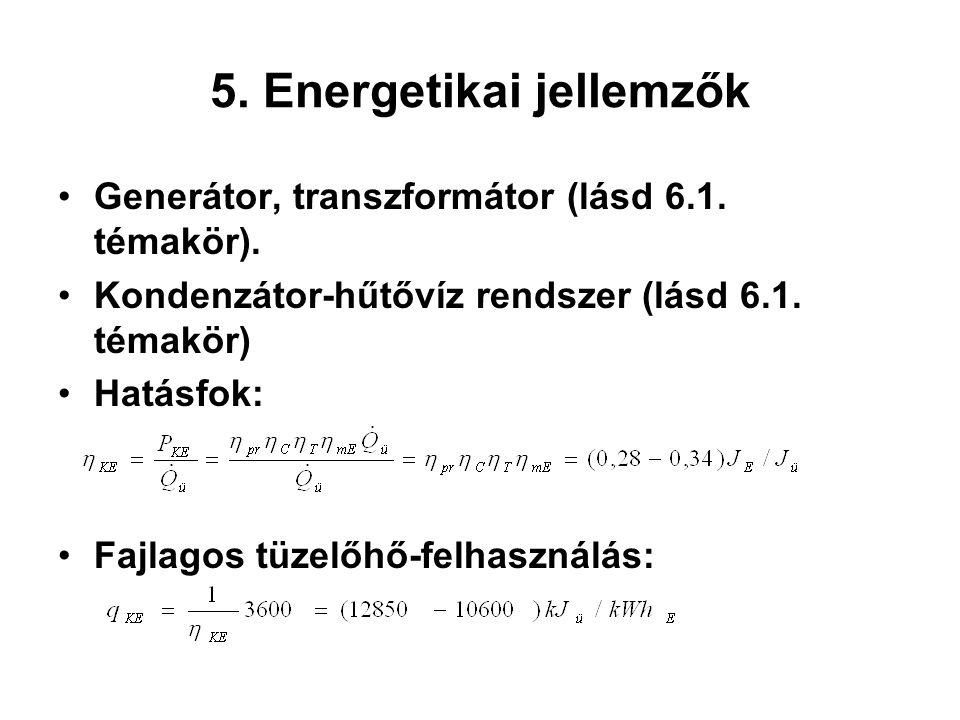 5. Energetikai jellemzők Generátor, transzformátor (lásd 6.1. témakör). Kondenzátor-hűtővíz rendszer (lásd 6.1. témakör) Hatásfok: Fajlagos tüzelőhő-f