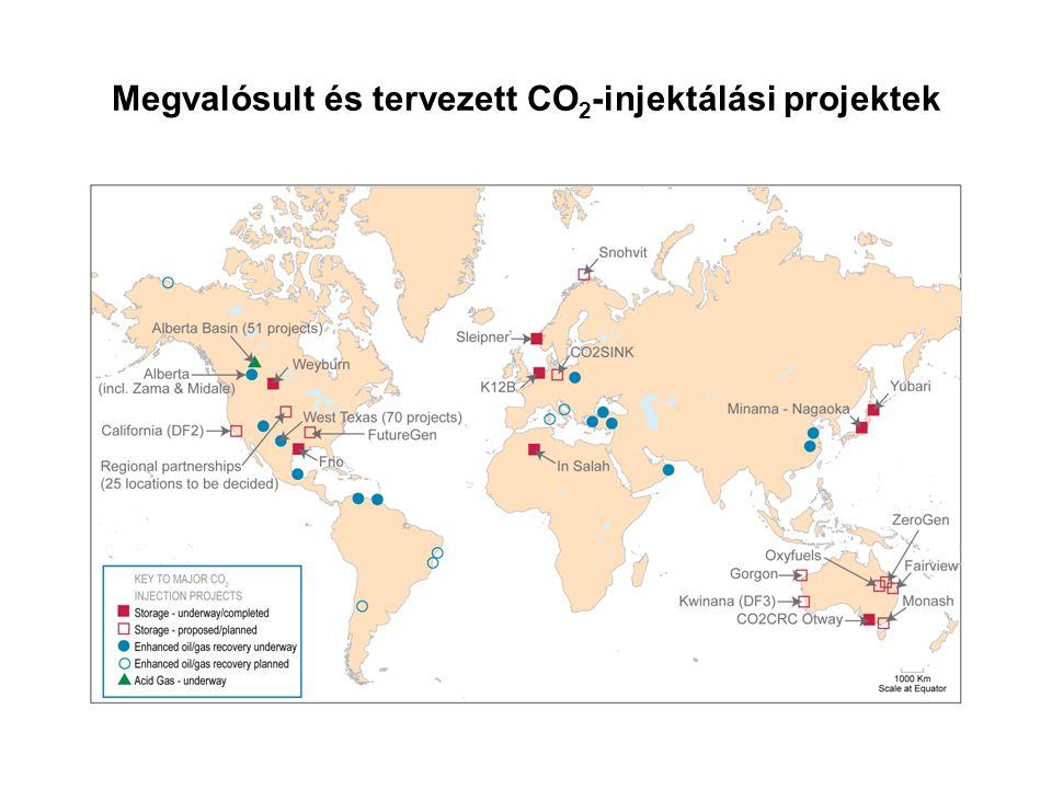 Megvalósult és tervezett CO 2 -injektálási projektek