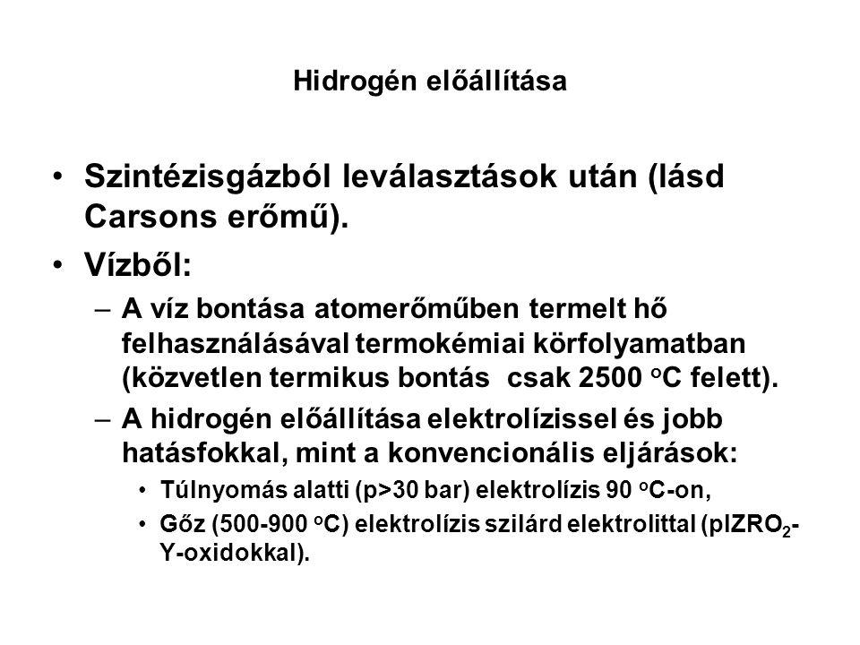 Hidrogén előállítása Szintézisgázból leválasztások után (lásd Carsons erőmű).