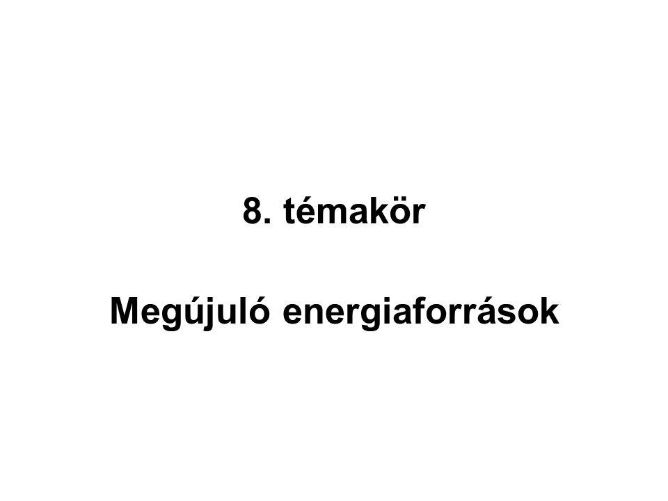 8. témakör Megújuló energiaforrások