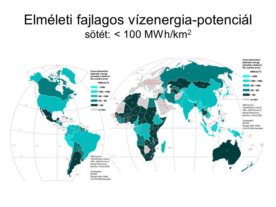 Elméleti fajlagos vízenergia-potenciál sötét: < 100 MWh/km 2