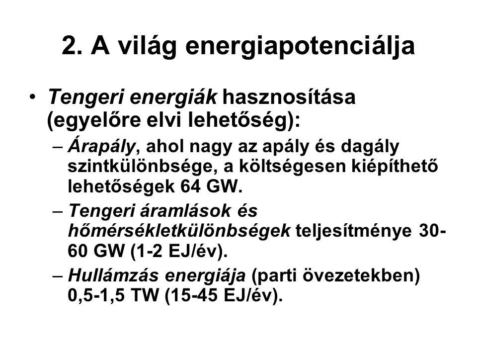 2. A világ energiapotenciálja Tengeri energiák hasznosítása (egyelőre elvi lehetőség): –Árapály, ahol nagy az apály és dagály szintkülönbsége, a költs