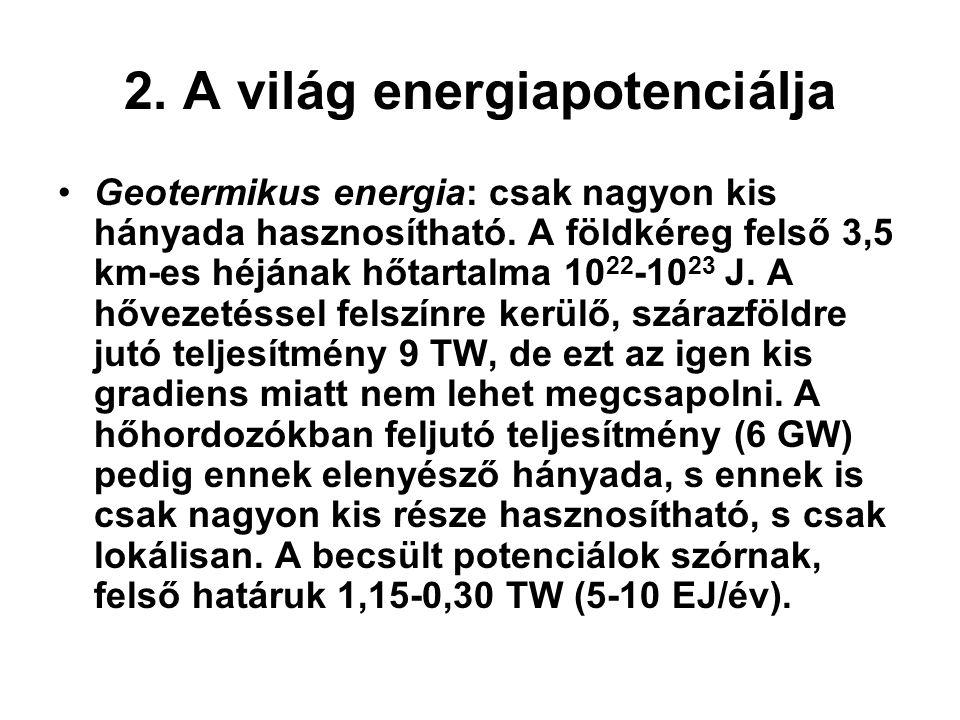 2. A világ energiapotenciálja Geotermikus energia: csak nagyon kis hányada hasznosítható. A földkéreg felső 3,5 km-es héjának hőtartalma 10 22 -10 23