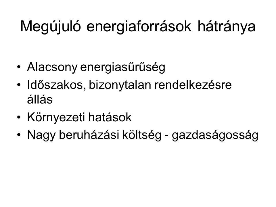 Megújuló energiaforrások hátránya Alacsony energiasűrűség Időszakos, bizonytalan rendelkezésre állás Környezeti hatások Nagy beruházási költség - gazd