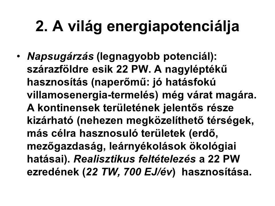 2. A világ energiapotenciálja Napsugárzás (legnagyobb potenciál): szárazföldre esik 22 PW. A nagyléptékű hasznosítás (naperőmű: jó hatásfokú villamose