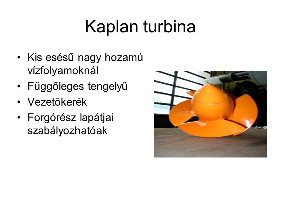 Kaplan turbina Kis esésű nagy hozamú vízfolyamoknál Függőleges tengelyű Vezetőkerék Forgórész lapátjai szabályozhatóak