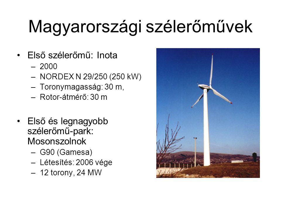 Magyarországi szélerőművek Első szélerőmű: Inota –2000 –NORDEX N 29/250 (250 kW) –Toronymagasság: 30 m, –Rotor-átmérő: 30 m Első és legnagyobb szélerőmű-park: Mosonszolnok –G90 (Gamesa) –Létesítés: 2006 vége –12 torony, 24 MW
