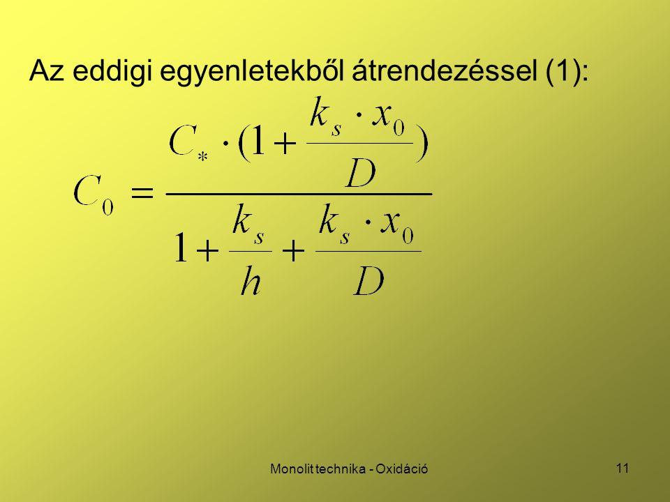 11 Monolit technika - Oxidáció Az eddigi egyenletekből átrendezéssel (1):