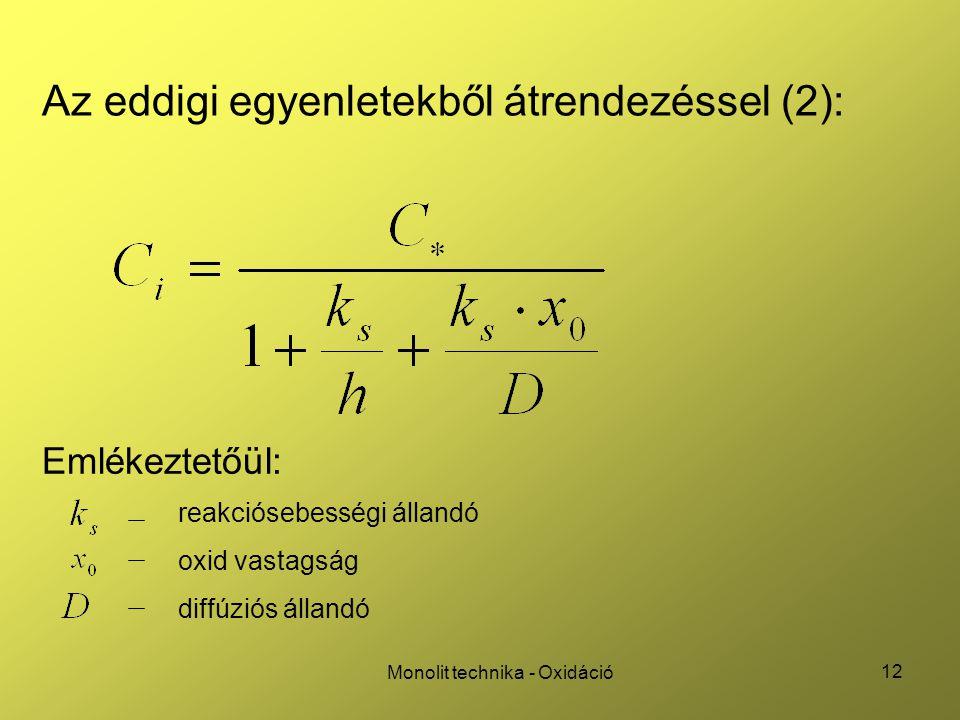 12 Monolit technika - Oxidáció Az eddigi egyenletekből átrendezéssel (2): Emlékeztetőül: reakciósebességi állandó oxid vastagság diffúziós állandó