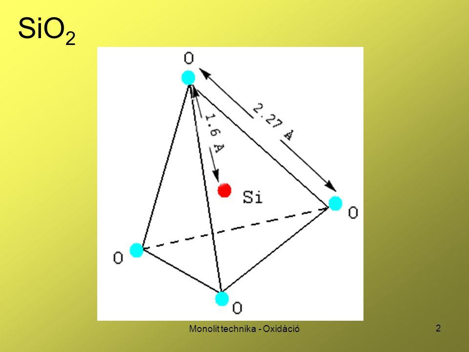 33 Monolit technika - Oxidáció Deal (oxidációs) háromszög Fix töltések száma alacsony hőmérsékletű, száraz oxidációnál igen nagy, mert nem tudnak rendeződni a határfelületi kötések Jó oxid: - magas hőmérséklet, O 2 atmoszféra - alacsony hőmérséklet, redukáló atmoszféra, sokáig hökezelés