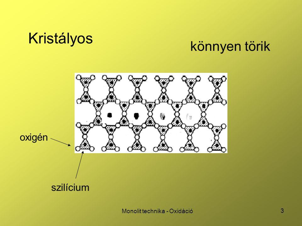 34 Monolit technika - Oxidáció Deal (oxidációs) háromszög gyors oxidáció (k s nagy, minden kötés rendeződik) lassú oxidáció (k s kicsi, telítetlen töltések maradnak), majd hőkezelés (N 2 vagy Ar) alacsonyabb felületi állapotsűrűség ( ) hökezelés