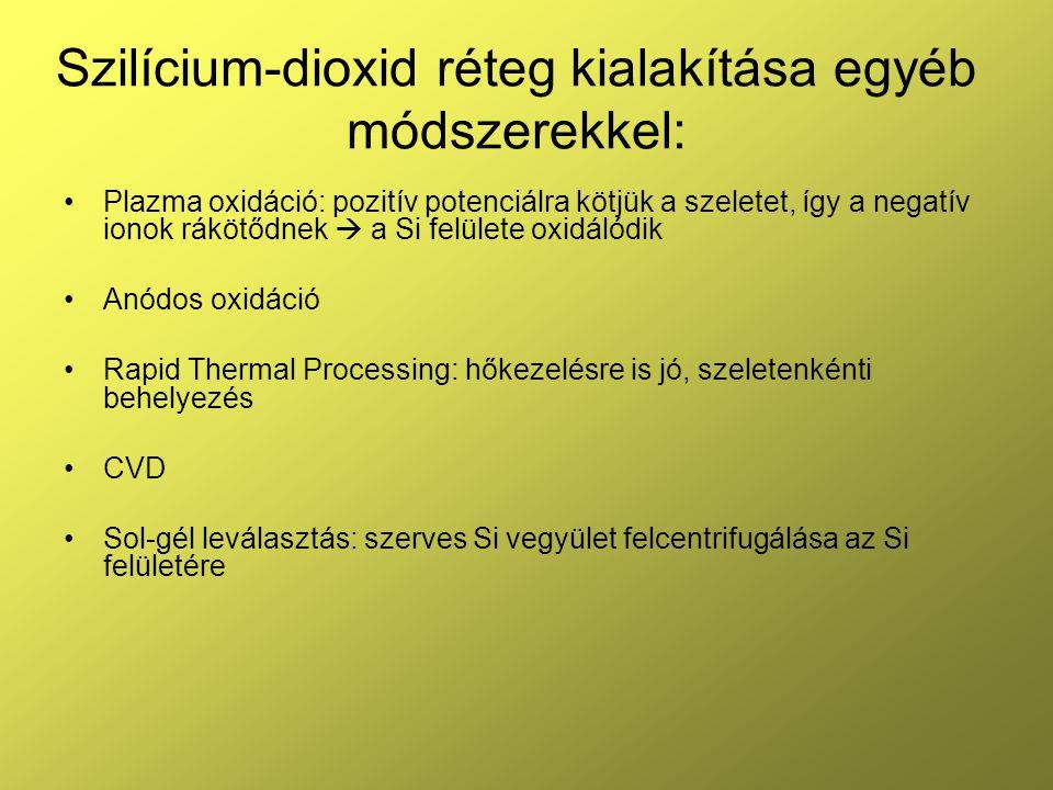 Plazma oxidáció: pozitív potenciálra kötjük a szeletet, így a negatív ionok rákötődnek  a Si felülete oxidálódik Anódos oxidáció Rapid Thermal Proces