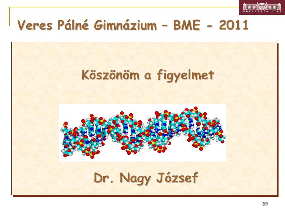 39 Veres Pálné Gimnázium – BME - 2011 Köszönöm a figyelmet Dr. Nagy József