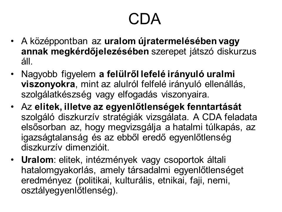 CDA A középpontban az uralom újratermelésében vagy annak megkérdőjelezésében szerepet játszó diskurzus áll. Nagyobb figyelem a felülről lefelé irányul
