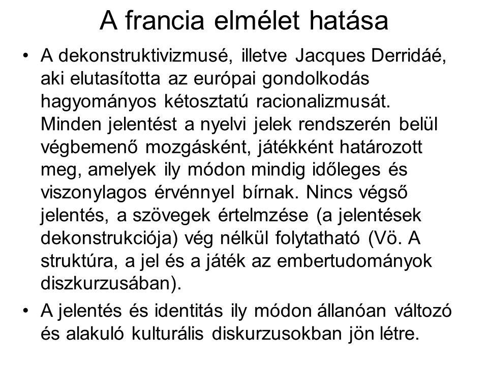 A francia elmélet hatása A dekonstruktivizmusé, illetve Jacques Derridáé, aki elutasította az európai gondolkodás hagyományos kétosztatú racionalizmus