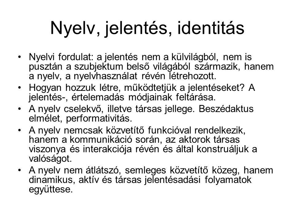 Nyelv, jelentés, identitás Nyelvi fordulat: a jelentés nem a külvilágból, nem is pusztán a szubjektum belső világából származik, hanem a nyelv, a nyel