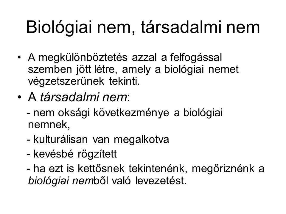 Biológiai nem, társadalmi nem A megkülönböztetés azzal a felfogással szemben jött létre, amely a biológiai nemet végzetszerűnek tekinti. A társadalmi