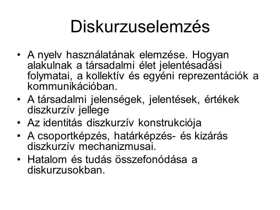 Diskurzuselemzés A nyelv használatának elemzése. Hogyan alakulnak a társadalmi élet jelentésadási folymatai, a kollektív és egyéni reprezentációk a ko
