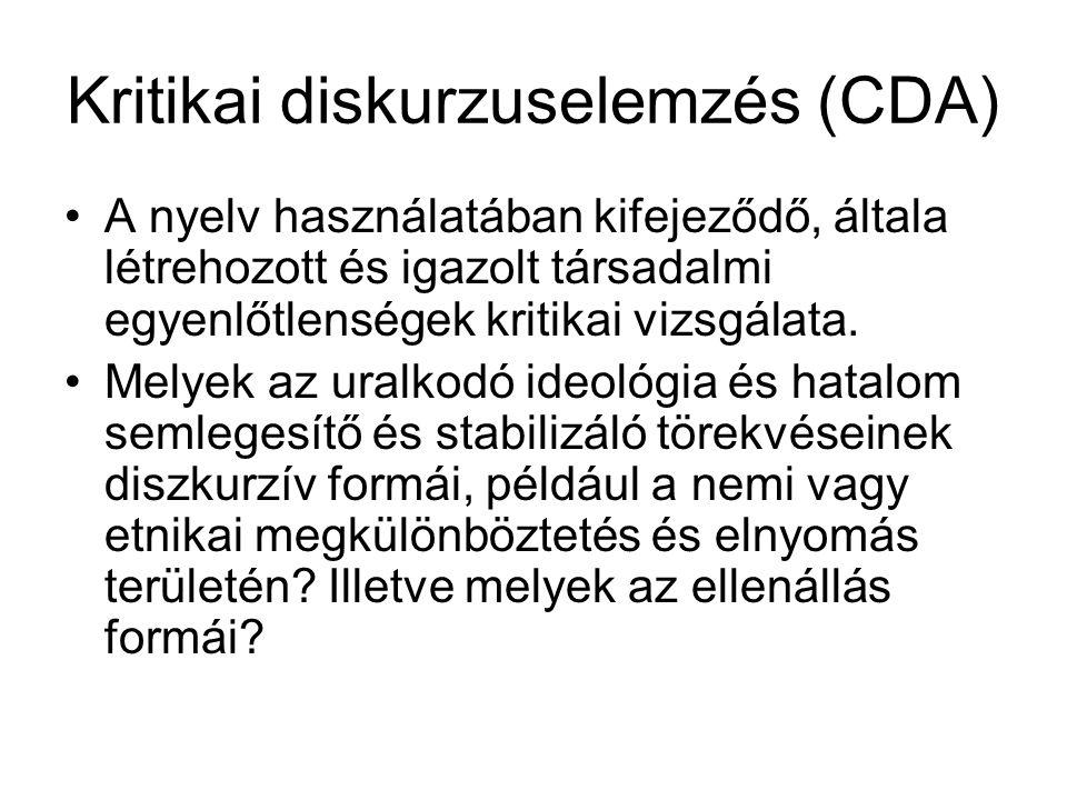 Kritikai diskurzuselemzés (CDA) A nyelv használatában kifejeződő, általa létrehozott és igazolt társadalmi egyenlőtlenségek kritikai vizsgálata. Melye