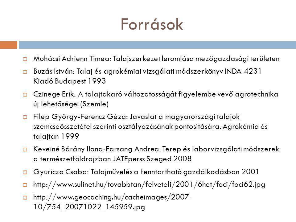 Források  Mohácsi Adrienn Tímea: Talajszerkezet leromlása mezőgazdasági területen  Buzás István: Talaj és agrokémiai vizsgálati módszerkönyv INDA 42