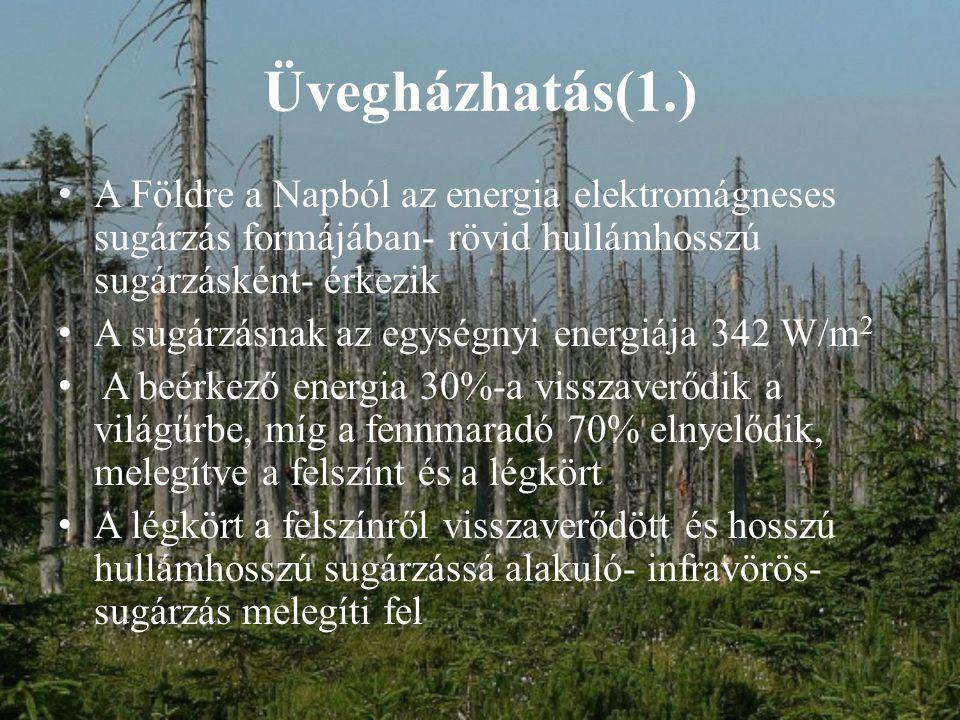 Üvegházhatás(2.) Az üvegházhatású gázok lefelé átengedik a napsugárzást, de nem engedik át a felszínről felfelé haladó hősugárzást Az üvegházhatás természetes folyamat elvileg, ez a mechanizmus már az ember előtt is működött Ez a folyamat egyensúlyban volt, ezt bontottam meg az ember A modern kori társadalom óriási mennyiségben kezdte a fosszilis eredetű (szén, kőolaj, földgáz) energiahordozókat elégetni, kiirtani az erdőket, a megnövekedett élelemszükséglet fedezésére megsokszorozni a mezőgazdasági területeket és az állatállományt Drasztikusan megnőtt a levegőben a szén-dioxid, nitrogén-oxidok, metán, klórozott szén-hidrogén és egyéb üvegházhatású gázok mennyisége Manapság a köztudatban globális felmelegedésként emlegetik ezt a problémát Nagy ipari országok nagyban hozzájárulnak a felmelegedéshez