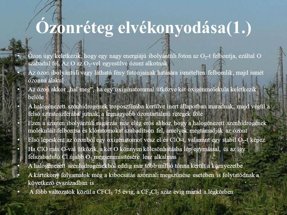 Ózonréteg elvékonyodása(1.) Ózon úgy keletkezik, hogy egy nagy energiájú ibolyántúli foton az O 2 -t felbontja, ezáltal O szabadul fel.
