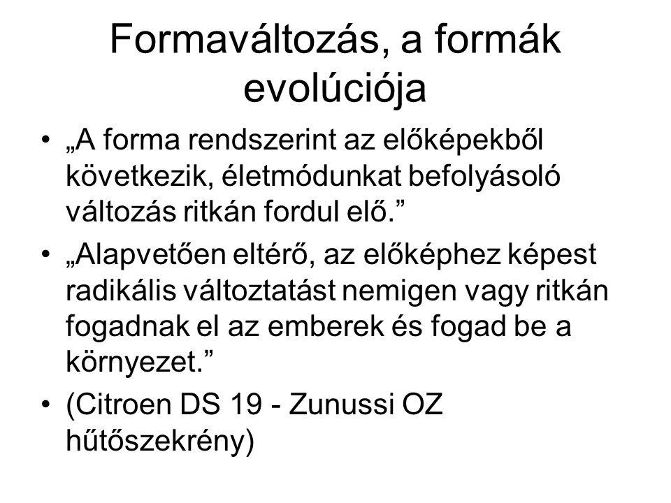 """Formaváltozás, a formák evolúciója """"A forma rendszerint az előképekből következik, életmódunkat befolyásoló változás ritkán fordul elő. """"Alapvetően eltérő, az előképhez képest radikális változtatást nemigen vagy ritkán fogadnak el az emberek és fogad be a környezet. (Citroen DS 19 - Zunussi OZ hűtőszekrény)"""