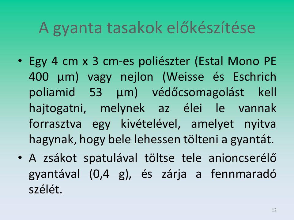 12 A gyanta tasakok előkészítése Egy 4 cm x 3 cm-es poliészter (Estal Mono PE 400 μm) vagy nejlon (Weisse és Eschrich poliamid 53 μm) védőcsomagolást
