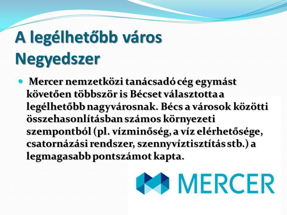 A legélhetőbb város Negyedszer Mercer nemzetközi tanácsadó cég egymást követően többször is Bécset választotta a legélhetőbb nagyvárosnak. Bécs a váro