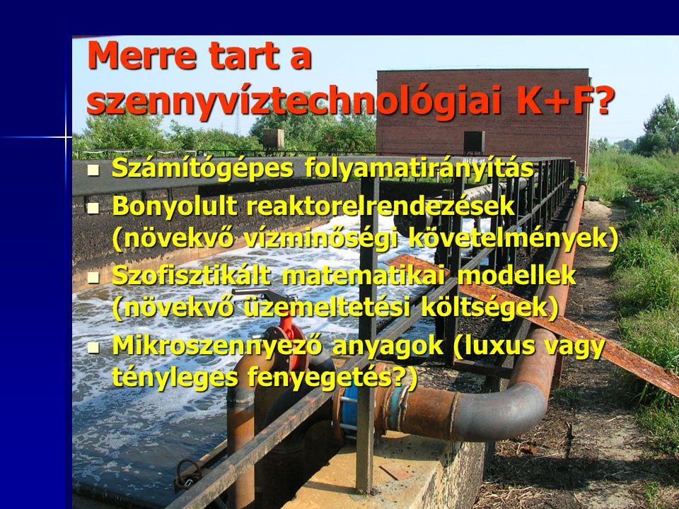 Merre tart a szennyvíztechnológiai K+F? Számítógépes folyamatirányítás Számítógépes folyamatirányítás Bonyolult reaktorelrendezések (növekvő vízminősé