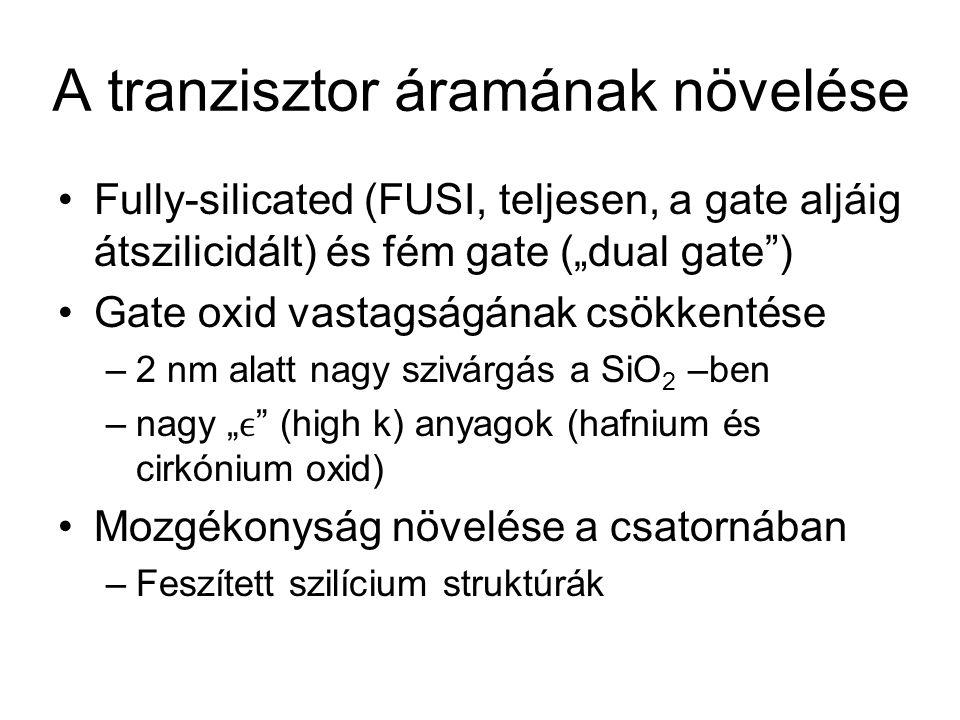 """A tranzisztor áramának növelése Fully-silicated (FUSI, teljesen, a gate aljáig átszilicidált) és fém gate (""""dual gate"""") Gate oxid vastagságának csökke"""
