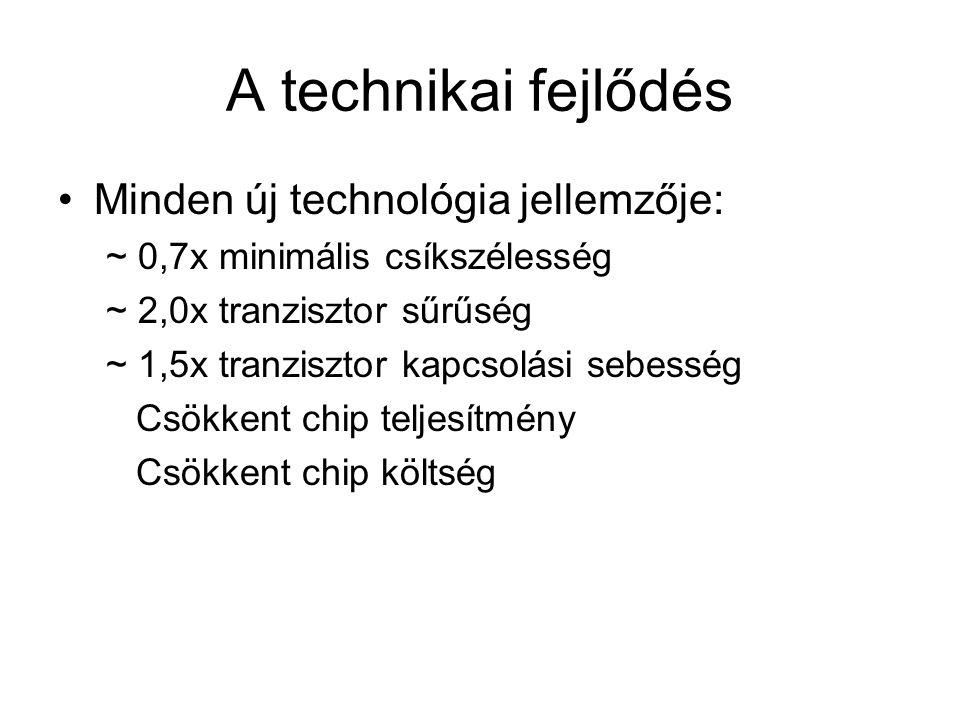 A technikai fejlődés Minden új technológia jellemzője: ~ 0,7x minimális csíkszélesség ~ 2,0x tranzisztor sűrűség ~ 1,5x tranzisztor kapcsolási sebessé